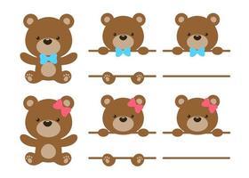 Vector teddy bear set