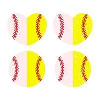 Beautiful red stitch baseball ball set vector
