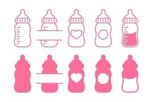 Plastic baby bottle set vector
