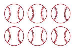Red baseball ball set vector