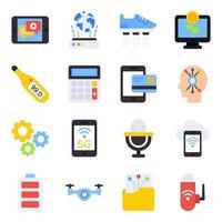 paquete de iconos planos de dispositivos vector