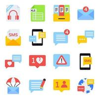 Pack of Communication Flat Icons vector