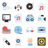 paquete de iconos planos multimedia vector