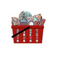un conjunto de artículos de papelería de oficina y escuela en el carrito de compras. vector