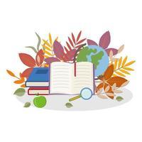 material escolar con hojas vector