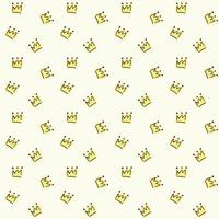Vector seamless pattern. Painted crown on a light yellow background. Fabric drawing, packaging paper, textile