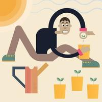 Man planting seeds. Vector abstract illustration of a gardener with plants and watering can