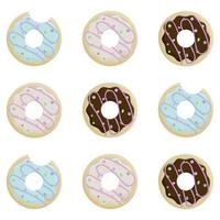 Donut day. Set of bitten donuts in icing and sprinkling on white background vector