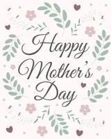 Happy mother's day banner with flowers, leaves and hearts. Perfect for greeting cards, websites, banners or tags. Vector illustration.