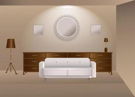 Ilustración vectorial gráfica de diseño interior realista en color marrón. vector