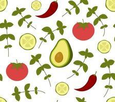 patrón transparente de vector con aguacate, pepino, tomate, ají y albahaca. perfecto para papel tapiz, fondo, papel de regalo o textil. verduras y hierbas verdes y rojas sobre fondo blanco.