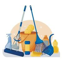 Cleaning service. Composition of a set of tools for cleaning the house. Detergents and disinfectants, a mop, bucket, brush and broom. Vector illustration