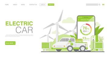 EV Car Or Electric Car At Charging Station. Concept Illustration For Green Environment. Landing Page in Flat Style. Vector EPS 10
