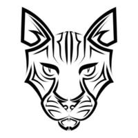 Black and white line art of cat head. Good use for symbol, mascot, icon, avatar, tattoo, T Shirt design, logo or any design you want. vector