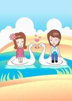 niño y niña con cisnes de amor vector