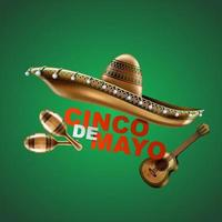Cinco de Mayo mexican holiday. Sombrero hat, Maracas and Tacos and festive food. vector illustration.