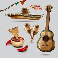 Cinco de Mayo mexican holiday. Sombrero hat, Maracas and Tacos and festive food with colors of Mexico flag. vector illustration.