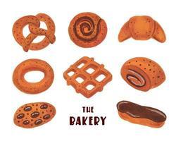 Imágenes Prediseñadas de panadería. conjunto de elementos de panadería. pretzel, donut, croissant, bagel, roll, eclair, waffle, cookies. comida de acuarela. vector
