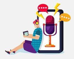 young man listening to podcast illustration in flat style vector