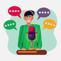 young man recording podcast illustration in flat style vector