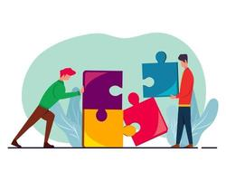 people connecting puzzle for teamwork metaphor illustration in flat style vector