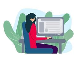woman with computer illustration in flat style vector