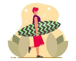 boy holding surfing board illustration in flat style vector