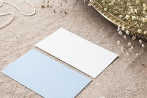 Composition of papers on beige tablecloth photo