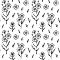 flores de primavera de patrones sin fisuras con elementos de diseño hechos a mano. ilustración vectorial en estilo boceto. vector