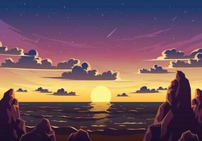 Sunset Beach Landscape Illustration vector