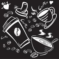 la taza de café y el equipo imagen de doodle en blanco y negro para el concepto de café. vector