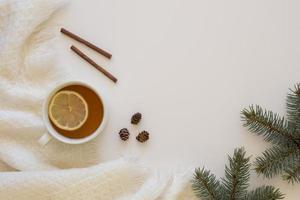 Delicious hot tea with cinnamon rolls photo