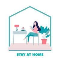 Woman Sitting on a Chair and Using Internet at Home Illustration vector