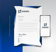 Diseño de plantilla de membrete de negocios moderno en concepto futurista azul con teléfono inteligente en el costado vector