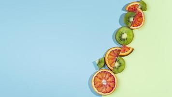Composition delicious fresh citrus fruit photo