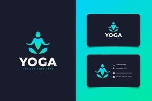 Green Yoga Logo Design Template. Yoga People Logo Vector Icon App