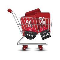 Shopping carts full of shopping bags with 3D red and black paper price tags sale, vector illustration