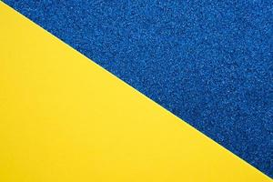 Elevated view of dual colored blue and yellow background photo