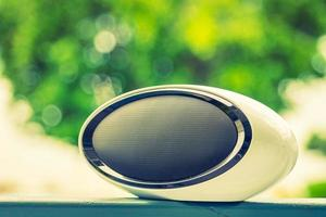 Loudspeaker with outdoor view - vintage filter photo