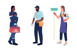 conjunto de caracteres sin rostro de vector de color plano de trabajadores clave