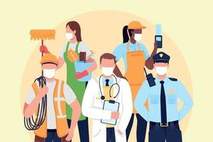 Essential frontline workers flat concept vector illustration