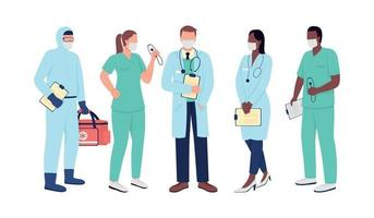 Healthcare workers flat color vector faceless character set