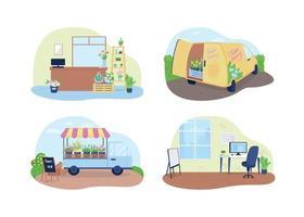 Flower shop, floral delivery service 2D vector web banner, poster set