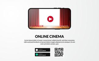 streaming online cinema, movie, or film series from app phone screen video display with download landing page vector