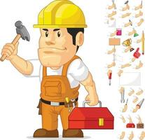 Strong Builder Construction Worker Cartoon Mascot Vector Drawing