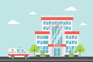 Hospital, a modern city medical facility. Ambulance. Health and Emergency concept. Vector illustration in flat cartoon style