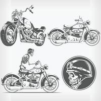 silueta, jinete, motociclista, motocicleta, grabado, plantilla, vector, dibujo vector