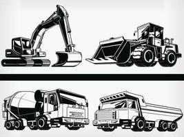Máquina de construcción de silueta plantilla de vehículo industrial pesado vector