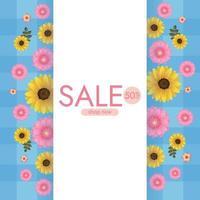Fondo de colores con girasoles y flores de margarita. ilustración vectorial vector