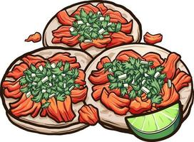 Mexican cartoon tacos al pastor with onions and cilantro. Vector clip art illustration with simple gradients.